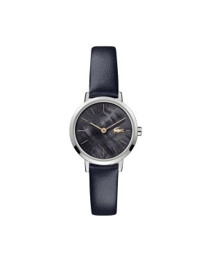 Ladies Moon Watch with Black Leather Strap