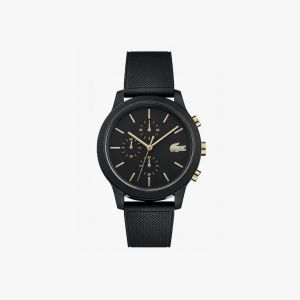 Men's Lacoste.12.12 Watch with Black Silicone Petit Pique Strap