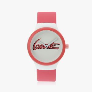 Goa Watch With Pink Silicone Strap And White Dial
