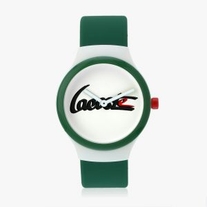 Goa Watch With Green Silicone Strap And White Dial