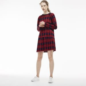 Women's Crew Neck Graphic Check Cotton And Wool Jacquard Sweater