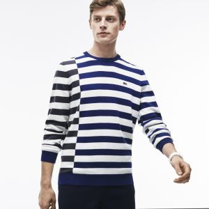Men's Crew Neck Off-Center Stripes Cotton T-Shirt