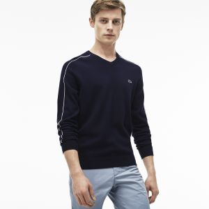 Men's V-Neck Piped Jersey And Cotton Pique Sweater