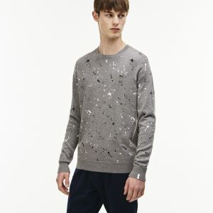 Men's Lacoste Live Crew Neck Speckled Print Jersey Sweater