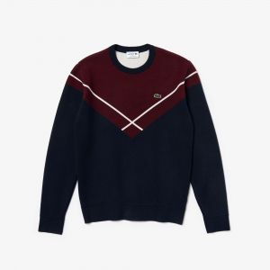 Men's Made In France Crew Neck Jacquard Design Sweater