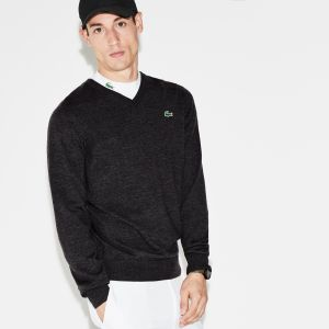 Men's Lacoste Sport V-Neck Wool Jersey Golf Sweater
