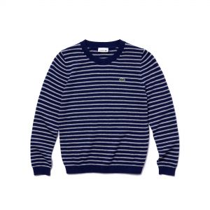 Boys' Crew Neck Striped Cotton And Wool Jersey Sweater