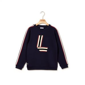 Boys' Crew Neck Bands And Tricolor L Print Cotton Sweater