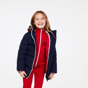 Girls' Stand-Up Collar Zippered Hooded Jacket