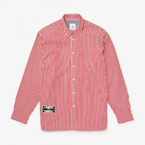 Unisex Lacoste Live Boxy Fit Striped Cotton Shirt