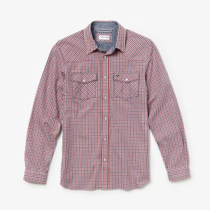 Men's Slim Fit Check Cotton Snap Shirt