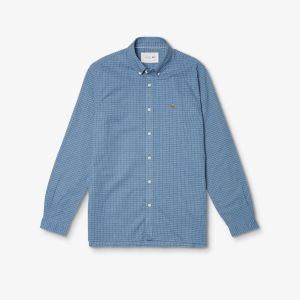 Men's Cotton-Linen Blend Checked Shirt