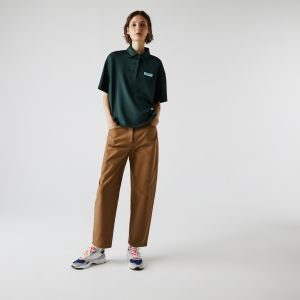 Women's Lacoste LIVE Loose Fit Badge Flowing Knit Polo Shirt