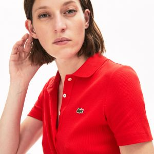 Women's Lacoste Ribbed Cotton Polo Shirt