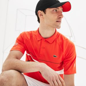 Men's Lacoste Sport Novak Djokovic Collection Graphic Print Tech Stretch Polo Shirt