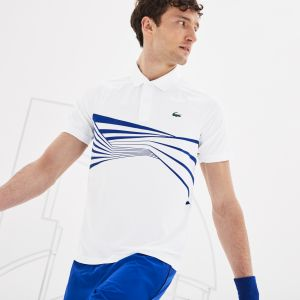 Men's Lacoste Sport Novak Djokovic Collection Graphic Print Tech Jersey Polo Shirt