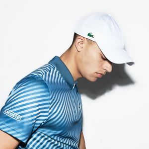 Men's Lacoste Sport Zip Neck Shaded Stripes Tech Pique Tennis Polo Shirt
