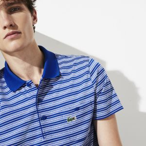 Men's Lacoste SPORT Pocket Breathable Striped Jersey Golf Polo Shirt