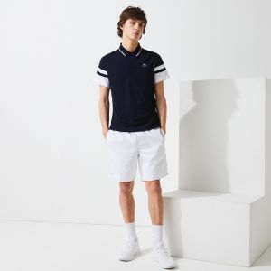 Men's Lacoste SPORT Striped Sleeves Breathable Pique Tennis Polo Shirt