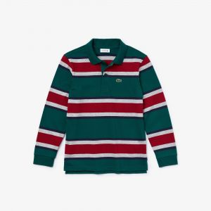 Boys' Lacoste Striped Cotton Polo
