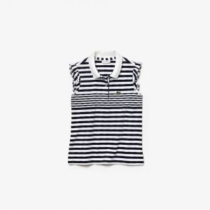 Girls' Lacoste Flounced Sleeved Striped Cotton Polo Shirt
