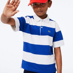 Boy's Lacoste Striped Rugby Polo Shirt