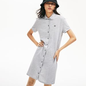 Women's Cotton Pique Buttoned Polo Dress