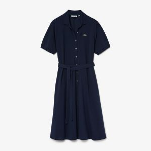Women's Cotton Pique Belted Polo Dress