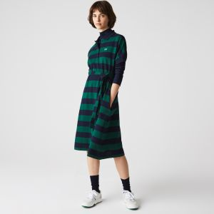 Women's Lacoste Loose Fit Stretch Cotton Striped Dress