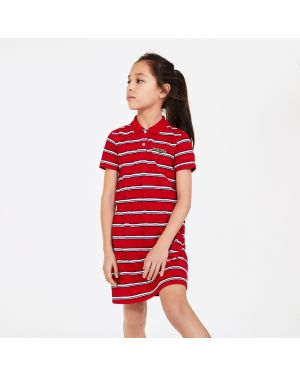 Girls' Striped Cotton Pique Polo Dress