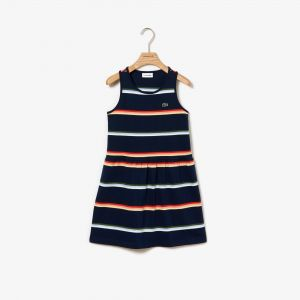 Girls' Colorblock Cotton Pique Dress