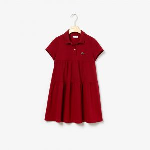 Girls' Flounced Cotton Pique Polo Dress