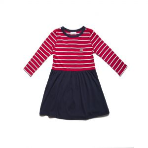 Girls' Flared Striped Cotton Jersey Dress