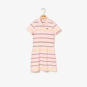 Girls' Elasticised Waist Striped Cotton Pique Polo Dress