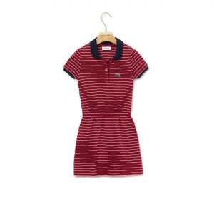 Girls' Fitted Striped Cotton Pique Polo Dress