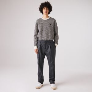Men's Virgin Wool And Cashmere Blend Pleated Chino Pants