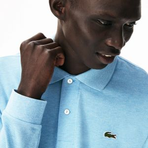 Lacoste Classic Fit Long-Sleeve Polo Shirt In Marl Petit Pique