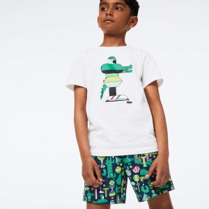 Boys' Lacoste x Jeremyville Light Print Swim Shorts