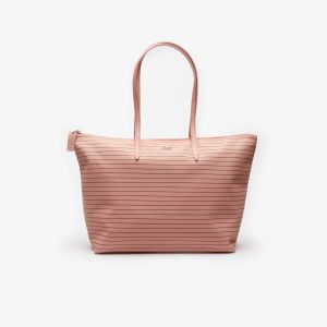 Women's L.12.12 Concept Striped Large Zip Tote Bag