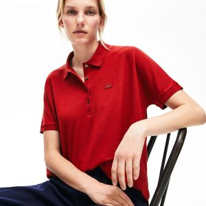 Women's Lacoste Relax Fit Flowing Stretch Cotton Pique Soft Polo Shirt