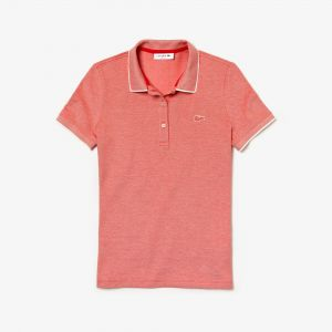 Women's Lacoste Slim Fit Pinstriped Stretch Mini Pique Polo Shirt