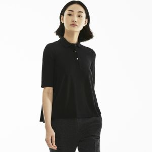 Women's Pleated Back Petit Pique Polo