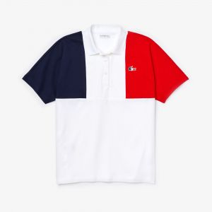 Women's Lacoste Sport Jeux Olympiques Tricolour Cotton Polo Shirt