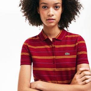 Women's Lacoste Slim Fit Striped Stretch Pique Polo Shirt