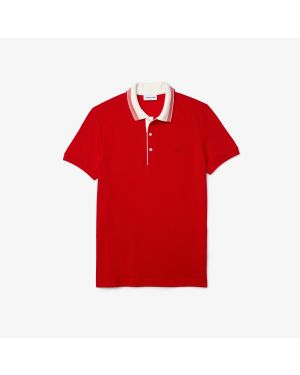 Men's Lacoste Slim Fit Striped Collar Cotton Piqué Polo Shirt