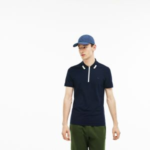 Men's Lacoste Motion Slim Fit Zip Collar Cotton Pique Polo Shirt