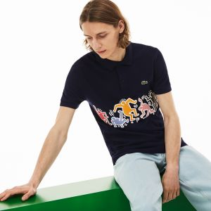 Men's Lacoste Keith Haring Print Band Regular Fit Petit Pique Polo Shirt