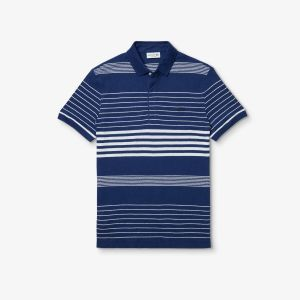 Men's Lacoste Striped Linen And Cotton Regular Fit Polo Shirt