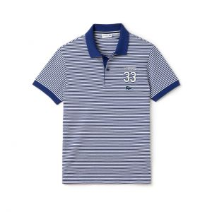 Men's Lacoste Regular Fit Striped Polo With 33 Design