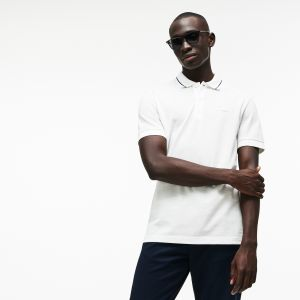 Men's Lacoste Regular Fit Piped Neck Flamme Pique Polo